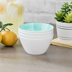 Turquoise Hammered Cereal Bowls, Set of 4