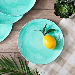 Turquoise Hammered Dinner Plates, Set of 4
