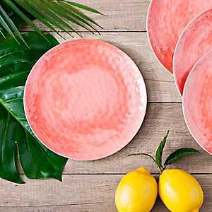 Coral Hammered Salad Plates, Set of 4