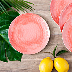 Coral Hammered Salad Plates, Set of 4