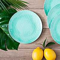 Turquoise Hammered Salad Plates, Set of 4
