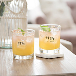 Gold Mr. and Mrs. Glasses, Set of 2