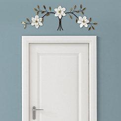 Over the Door White Bloom Wall Plaque
