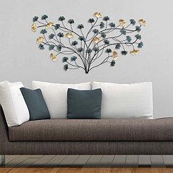 Elegant Blooming Flowers Wall Plaque