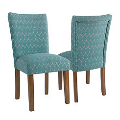 Textured Teal Parsons Chairs, Set of 2
