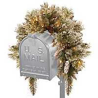 Pre-Lit Glittery Bristle Pine Mailbox Swag
