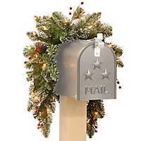 Pre-Lit Glittery Mountain Spruce Mailbox Swag