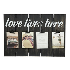 Love Lives Here Pallet Collage Frame with Clips