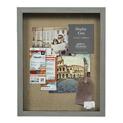 Gray Distressed Tan Linen Shadowbox