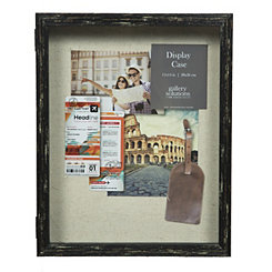 Black Distressed Natural Linen Shadowbox