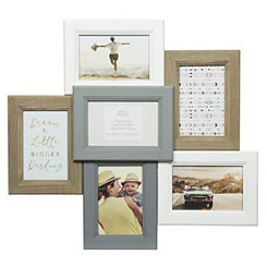 White and Gray 6-Opening Dimensional Collage Frame