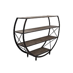 Santa Monica Circular Wood and Metal Bookcase
