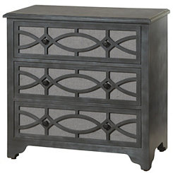 Gray Fretwork 3-Drawer Wooden Chest