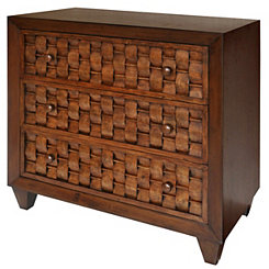 Woven Front 3-Drawer Wooden Chest