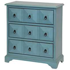 Antiqued Blue Ayden 3-Drawer Chest