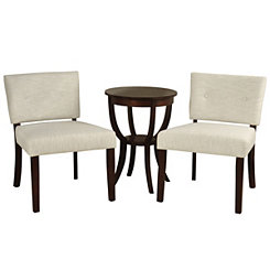 Espresso Slipper Chairs and Accent Table, Set of 3