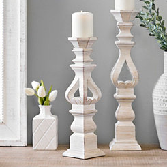 Brushed White Candlestick, 16 in.