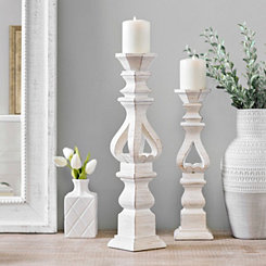 Brushed White Candlestick, 20 in.