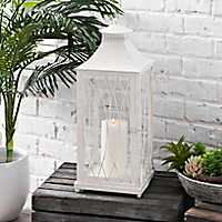 White Metal Caged Lantern, 23 in.