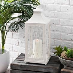 White Metal Caged Lantern, 23 in.