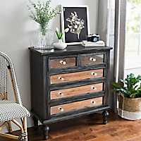 Black Mirrored 5-Drawer Chest