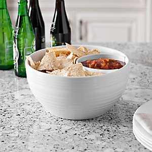 Ribbed White Chip & Dip Bowl