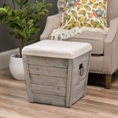 Gray Shiplap and Linen Tapered Storage Ottoman
