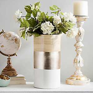 Metallic Stripe Bamboo Vase, 14 in.