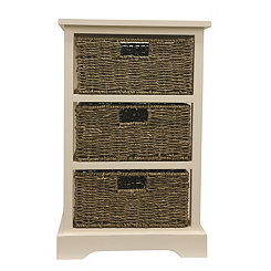 Cream 3-Basket Storage Chest