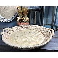 Natural Round Woven Bamboo Tray