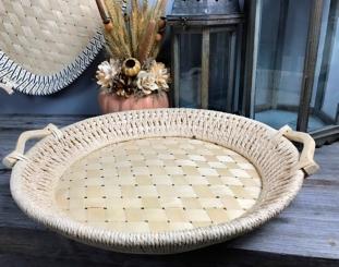 Natural Round Woven Bamboo Tray