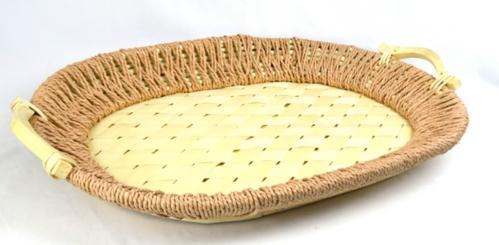 Natural Rectangular Woven Bamboo Tray