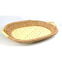 Natural Rectangular Woven Bamboo Tray