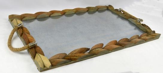 Galvanized Wood and Metal Rectangular Tray