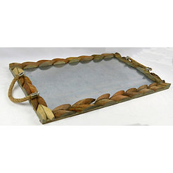 Galvanized Wood and Metal Rectangular Tray