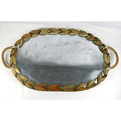 Galvanized Wood and Metal Oval Tray