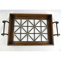 Wood and Metal Decorative Tray with Handles