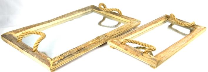 Rectangular Galvanized Trays, Set of 2
