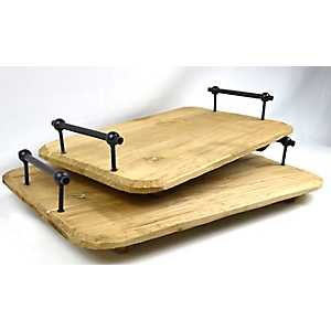 Wooden Trays with Metal Handles, Set of 2