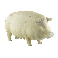 Resin and Wood Pig Statue, 15.25 in.