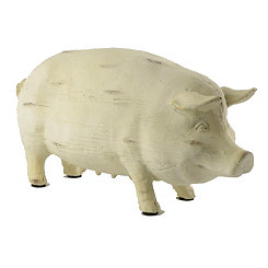 Resin and Wood Pig Statue, 11.5 in.