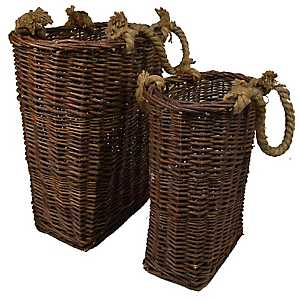 Willow Baskets with Rope Handles, Set of 2