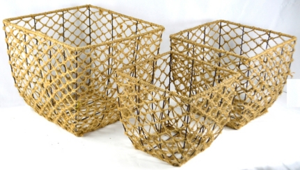 Square Woven Rope Iron Frame Baskets, Set of 3