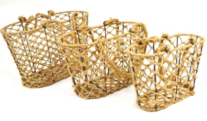 Woven Rope Iron Frame Baskets, Set of 3