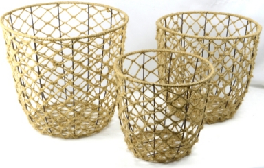 Round Woven Rope Iron Frame Baskets, Set of 3