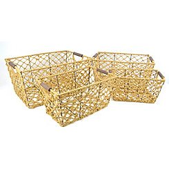 Rectangle Woven Rope Iron Frame Baskets, Set of 4