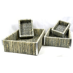 Gray Weave Cornhusk Baskets, Set of 4