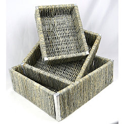 Gray Weave Nesting Cornhusk Baskets, Set of 3