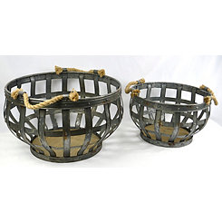Open Plate Metal Decorative Bowls, Set of 2