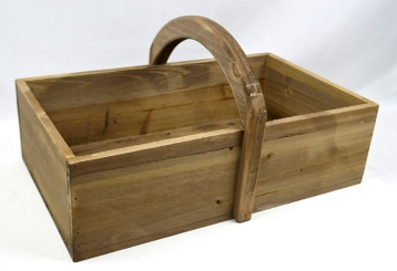 Wooden Basket with Rounded Handle